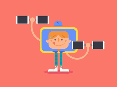 Tech gym boy tech characterdesign vector illustration