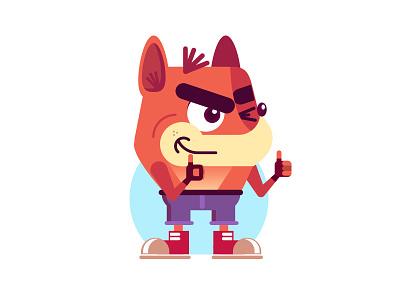 Bandicoot game fox crash flat characterdesign vector ps