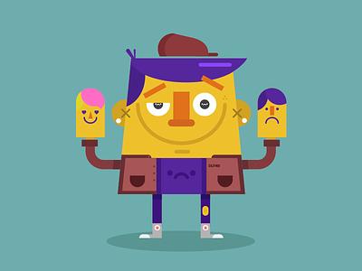 Ventrílocuo color converse titere characterdesign vector illustration