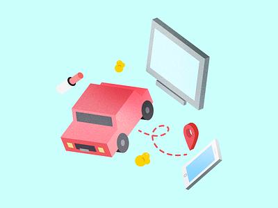 iso float texture flat phone car isometric