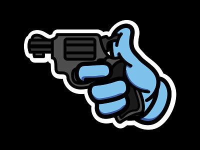 Gun hand bandals stroke vector gun