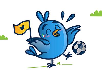 Twitter Player vector characterdesign illustration worldcup soccer twitter bird
