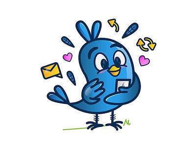 TwitterLove vector illustration love characterdesign twitter bird