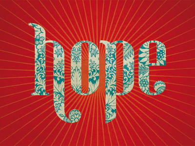 Hope red textures lettering hope
