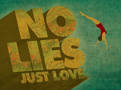 No Lies trampoline girl swimsuit swim vintage pool swimmer texture illustration lies love