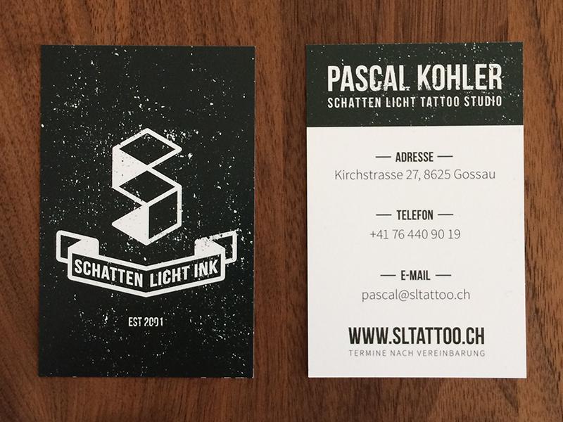Business Card For Schatten Licht Tattoo Studio By Sascha Eggenberger