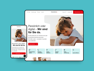 Insurance Startpage teal turquoise red desktop mobile home startpage concept insurance company insurance