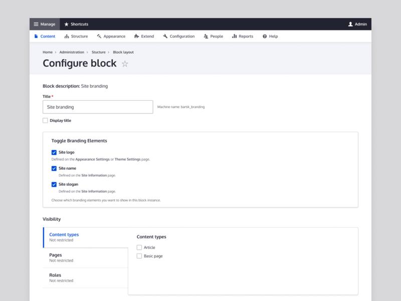 Drupal Configure Block configuration management management configuration drupal admin ui drupal admin drupal admin ui admin