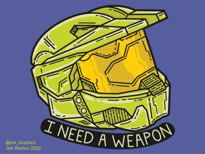 """Master Chief """"I need a weapon"""" character xbox gaming sticker halo fanart vector doodle design drawing illustrator art illustration"""
