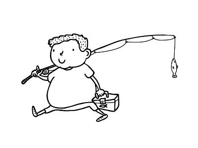 Fishing Kid sketch drawing illustration art kid fish angler fishing