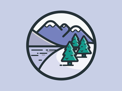 Nature Icon #1 lake trees mountains nature illustration vector line fat icon flat