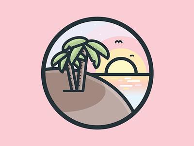 Nature Icon #2 vector trees sunset pastel palm nature line island illustration icon flat beach