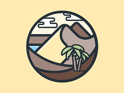 Nature Icon #3 dune sand oasis palm nature illustration icon vector flat desert
