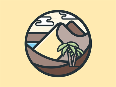Nature Icon #3 dune sand oasis palm nature illustration icon vector flat desert