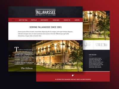 THG florida tallahassee local hospitality website mockup design web