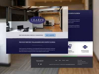 Tharpe Construction florida tallahassee local construction website mockup design web