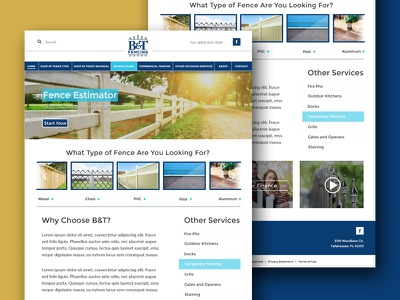 B&T Fencing tallahassee business local fencing mockup web design website