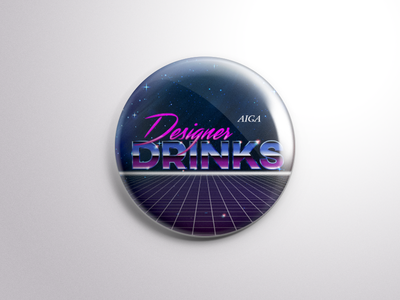 AIGA Tallahassee: Designer Drinks Pin local tallahassee radical neon space 80s vector drinks designer pin aiga