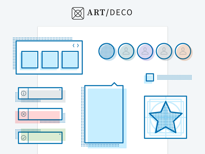Art Deco art deco sketch craft icons symbols components patterns design system linkedin