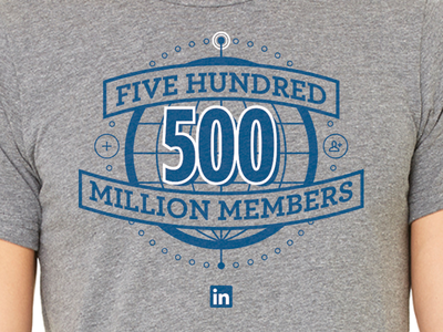 500 Million Members! milestone shirt tshirt global linkedin