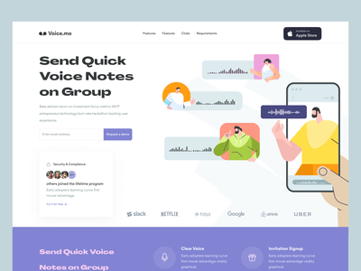 voice.mo landing page ui startup social app productivity voicenote google dribbble responsive mobiledesign website b2c b2b branding typography web design ui ux illustration dashboard product landing page mobile app