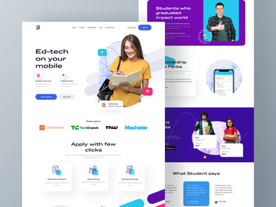 Eduhub landing page ui android ios mobileapps website fundraise education design fintech dribbble shot google startup edtech ui ux typography design branding web design product landing page dashboard mobile app