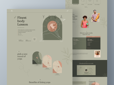 yoga landing page ui google dribbble trending shot trainer fitess startup health tech website template nocode web builder yoga wellness typography web design creative design ui product dashboard landing page ux illustration mobile app
