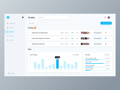 To-do list app dashboard ui illustration investing startup paas saas landing page productivity to-do list webapp app design web app ux dashboard template theme