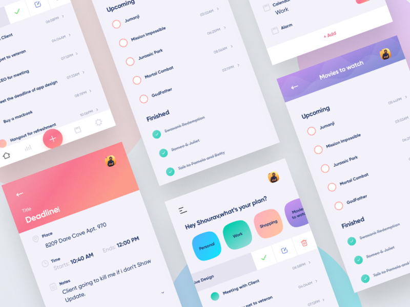 To Do App Exploration vector app illustration web design landing page dashboard mobile app admin panel dribbble invite colorful android ios creative design modern minimal ux ui productivity to do list mobile app design