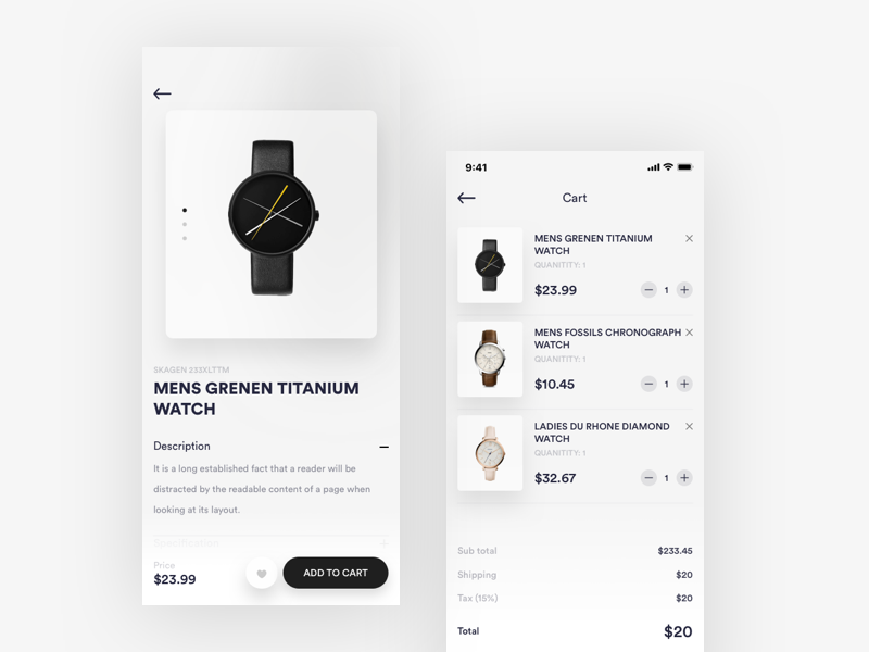 cart and Product details page branding minimal admin panel creative design web design product landing page illustration dashboard fluent design design watch product details cart ecommerce ios android mobile app ui ux