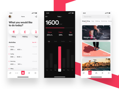 Health and fitness tracker app app vector animation branding typography creative design product illustration fluent design design data-management health medical fitness ios android mobile app ui ux dashboard