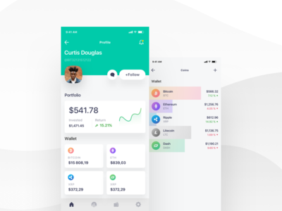 Cryptocurrency IOS app admin panel animation vector branding minimal creative design product illustration dashboard ux ui mobile app android ios bitcoin cryptocurrency ico graph block-chain fluent design