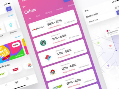 Discount offering shop IOS app animation logo app vector branding creative design product illustration dashboard ux ui mobile app android ios discount cryptocurrency cart offer e-commerce map