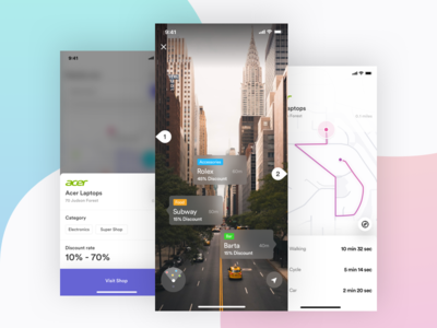 Discount offering shop IOS app-AR view logo design creative design product web design dashboard landing page illustration map e-commerce offer cart vr discount ios android mobile app ui ux ar
