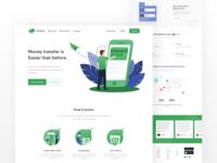 Remittance app landing page design