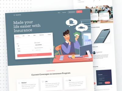 Assurance insurance app landing page insurance bank finance ui ux flat ios android icon animation website vector colorful typography minimal branding admin panel web design creative design product landing page dashboard illustration mobile app