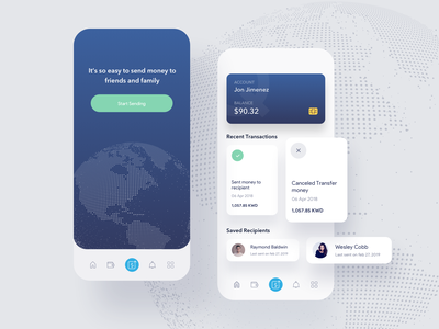 Remittance IOS app design app ui kit web design web page illustration landing page dashboard home admin panel cards bank profile wallet remittance money transfer ui kit ui8 app marketing gradient vector finance logo branding ios android ux ui clean minimal trendy design nice 100 agency team