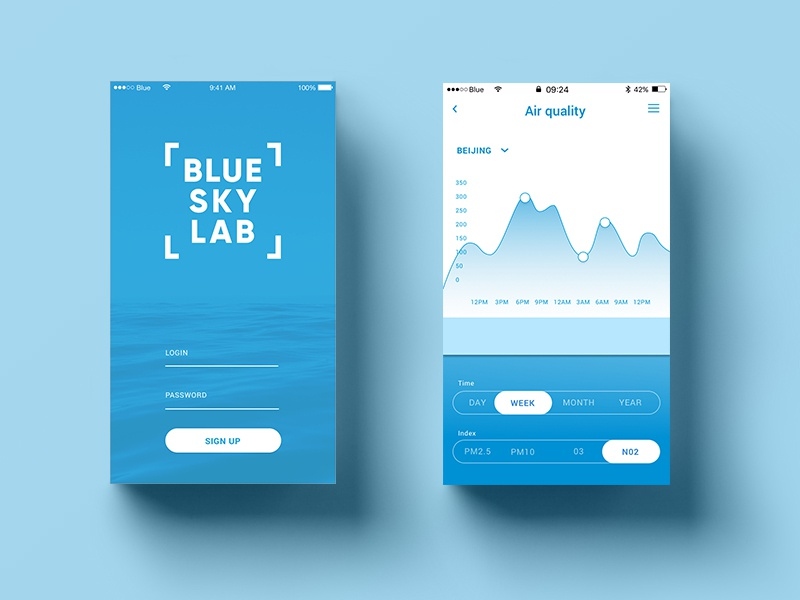 UI UX design brackets gradient startup simple signup login pure statistic mobile filter blue air