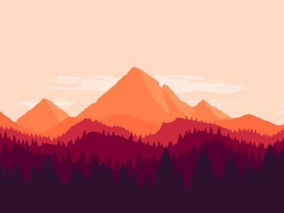 New version of flat landscape firewatch photoshop illustration tutorial landscape flat forest moutain