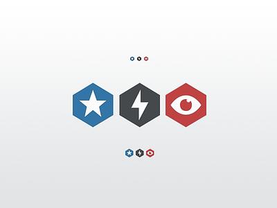 Leader - Contributor - Moderator flat icon flat icons star lightning bolt eye backplane