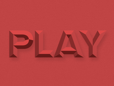 Play type typography chiseled red emboss ripplemdk