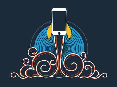 App Launch phone iphone launch startup illustration shirt