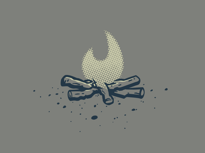 Camp Clari - Fiiirrrrre vector apparel illustration halftone fire