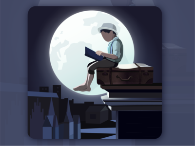 A boy reading under the moon