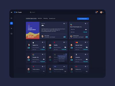 Trading application UI stock market trading stocks dark ui dashboard ux minimal visual design web visual ui clean