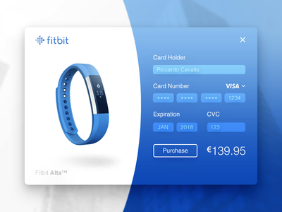 Fitbit Product Checkout Page. product card checkout credit card blue fitbit user interface ui