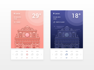 Weather App. 037 daily ui ui design ux ui night day app weather lecce