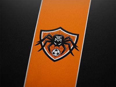 Logo for Football Friends Monteroni (FFM). spider patch black orange soccer football team shield logo