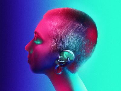 Neon Surrealism - Evanescente ear head skinhead girl photography body retro cyberpunk neon colors colored colors neon surrealism glowy surrealism neon portrait