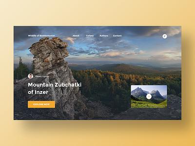 Nature of Bashkortostan hero mountain homepage nature header clean web design ux ui